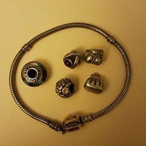 Pandora silver and gold bracelet
